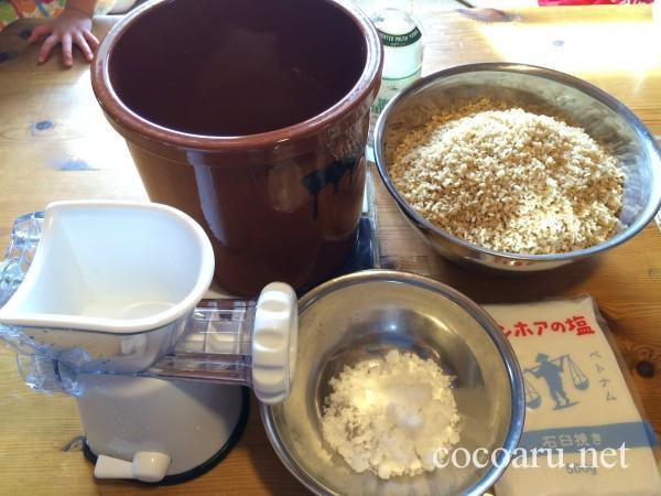 手作り味噌の材料と道具