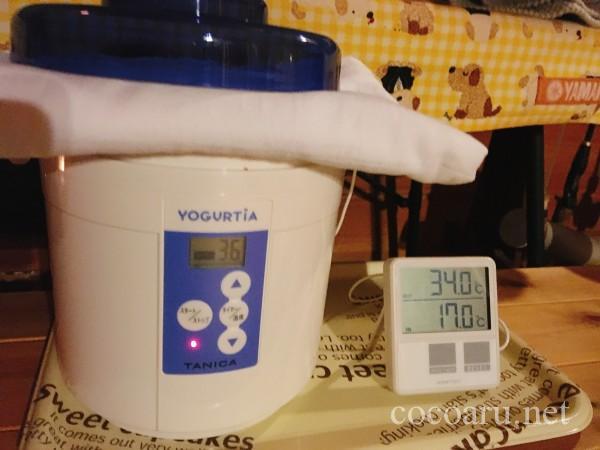 米麹の作り方!ヨーグルティア編:包み込みから約12時間後34度で切り返し(ヨーグルティアを34度に)
